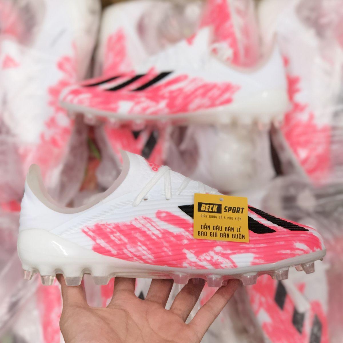 Giày Bóng Đá Adidas X 19.1 Trắng Xám Hồng Vạch Đen V2 AG