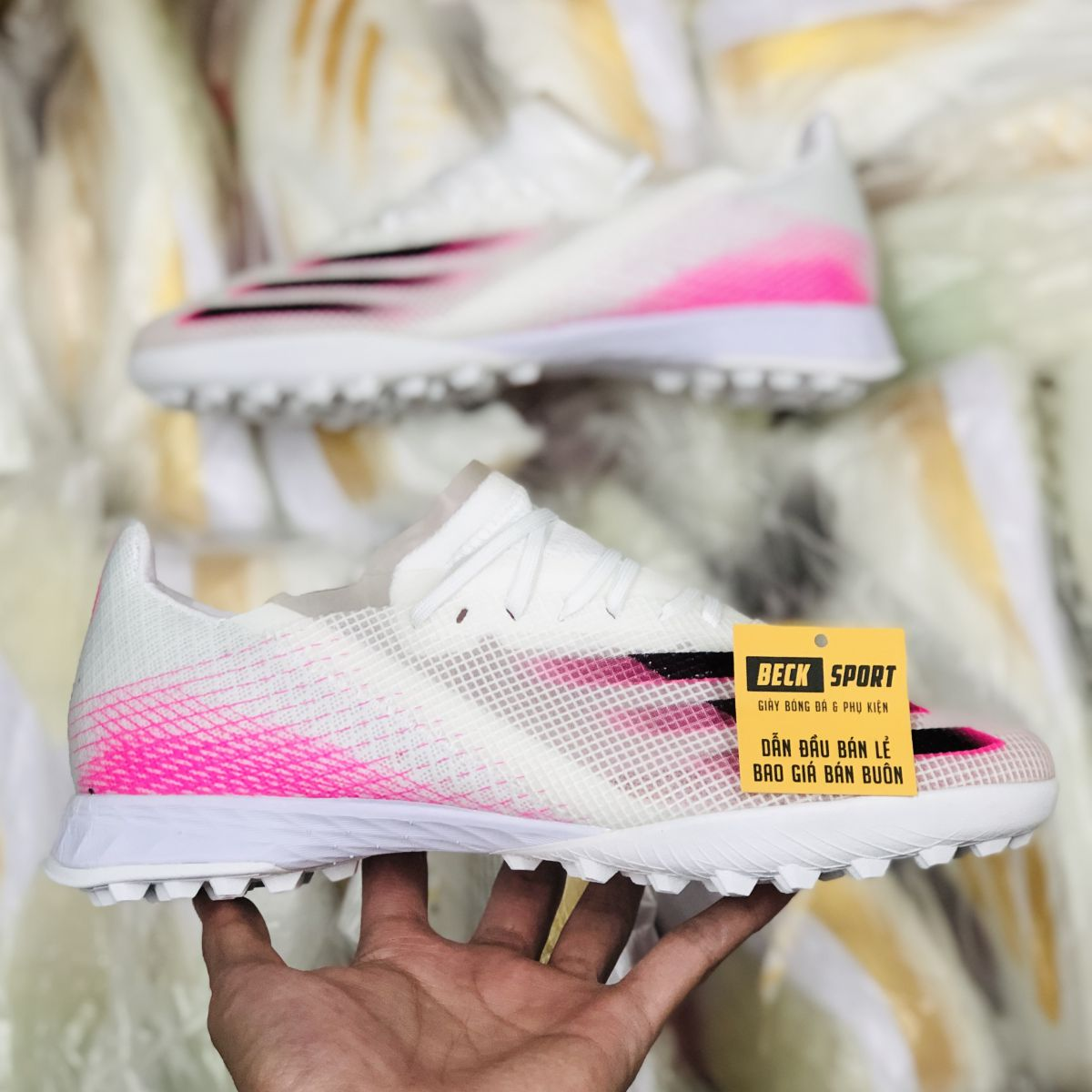 Giày Bóng Đá Adidas X Ghosted.1 Trắng Hồng Vạch Đen TF
