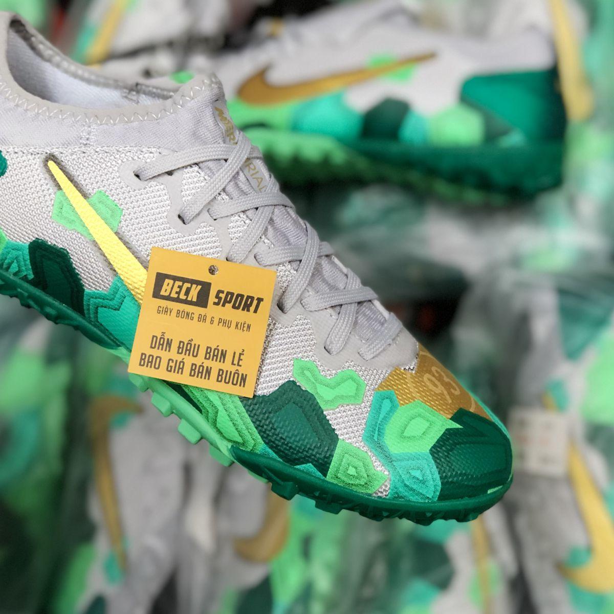 Giày Bóng Đá Nike Mercurial Vapor 13 Pro Xám Xanh Lục Vạch Vàng TF