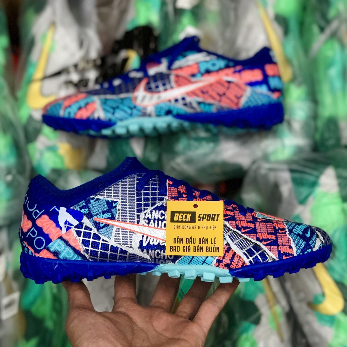 Giày Bóng Đá Nike Mercurial Vapor 13 Pro Jadon Sancho Xanh Biển Vạch Trắng V2 TF