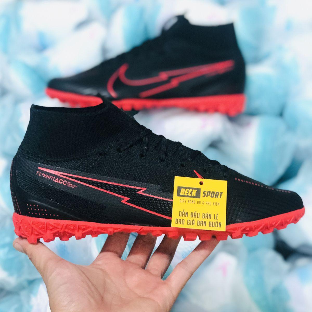 Giày Bóng Đá Nike Mercurial Superfly 7 Elite Đen Đế Đỏ Cổ Cao TF