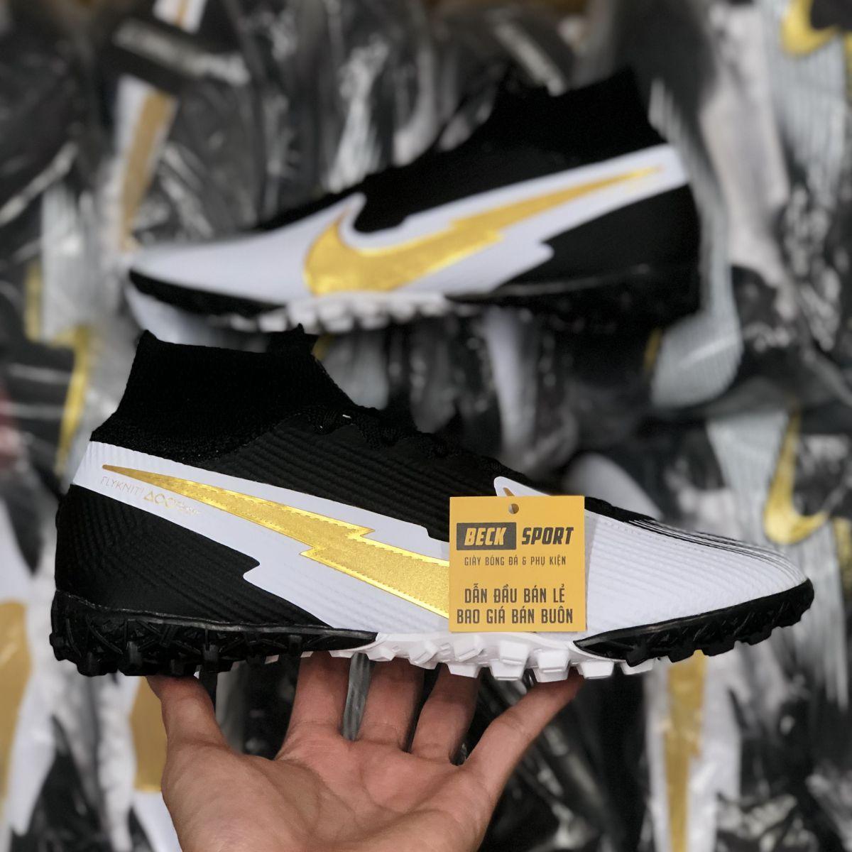 Giày Bóng Đá Nike Mercurial Superfly 7 Elite Đen Trắng Vạch Vàng Cổ Cao TF