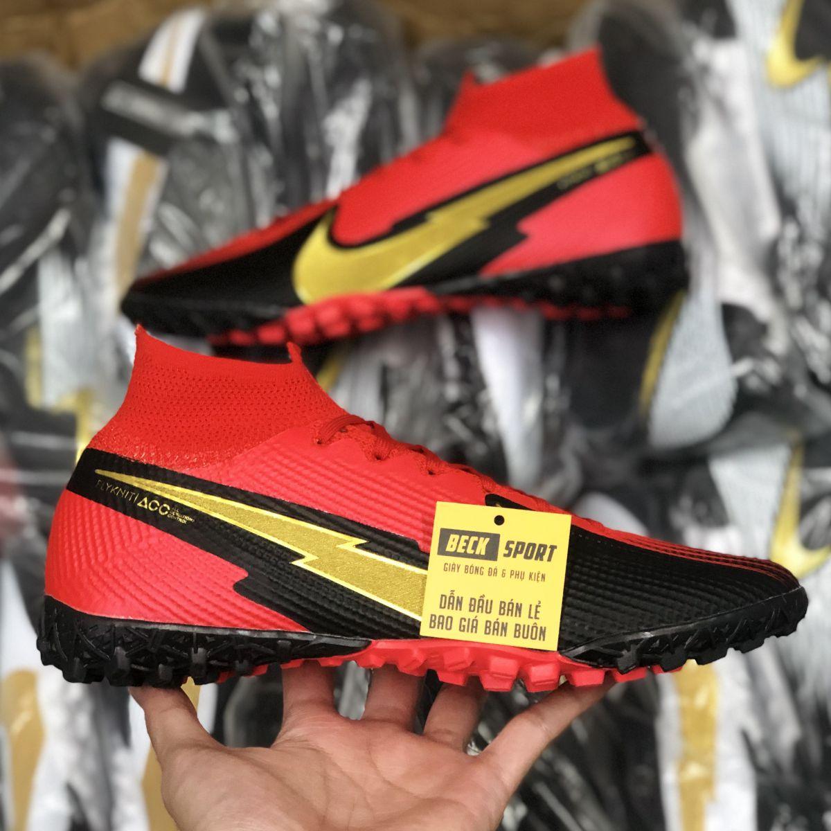 Giày Bóng Đá Nike Mercurial Superfly 7 Elite Đỏ Đen Vạch Vàng Cổ Cao TF