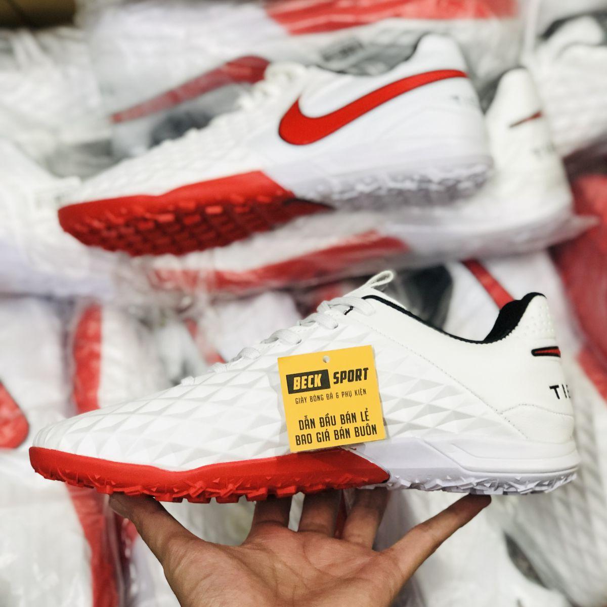 Giày Bóng Đá Nike Tiempo Legend 8 Pro Trắng Vạch Đỏ V2 TF