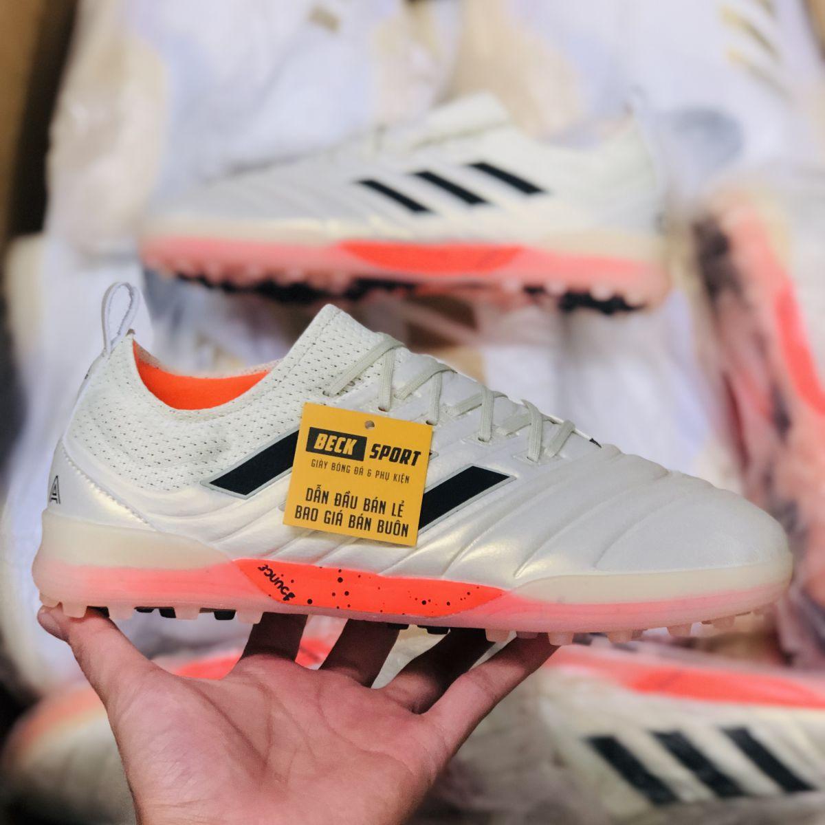 Giày Bóng Đá Adidas Copa 19.1 Trắng Ngà Vạch Đen Da Thật TF