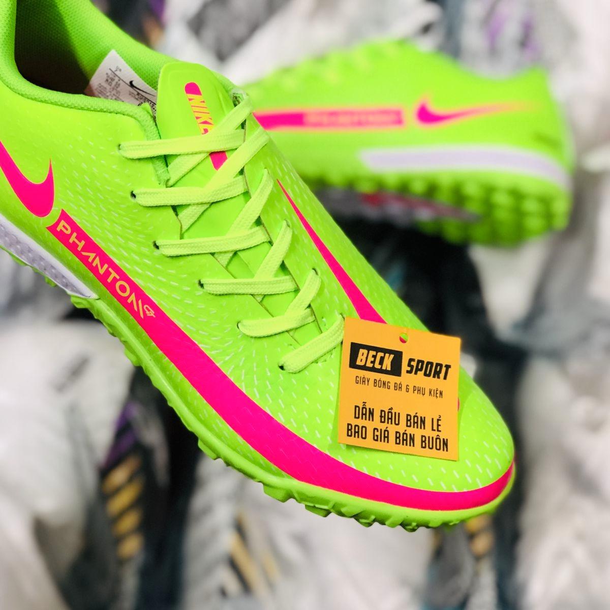 Giày Bóng Đá Nike Phantom GT Xanh Lá Vạch Hồng TF