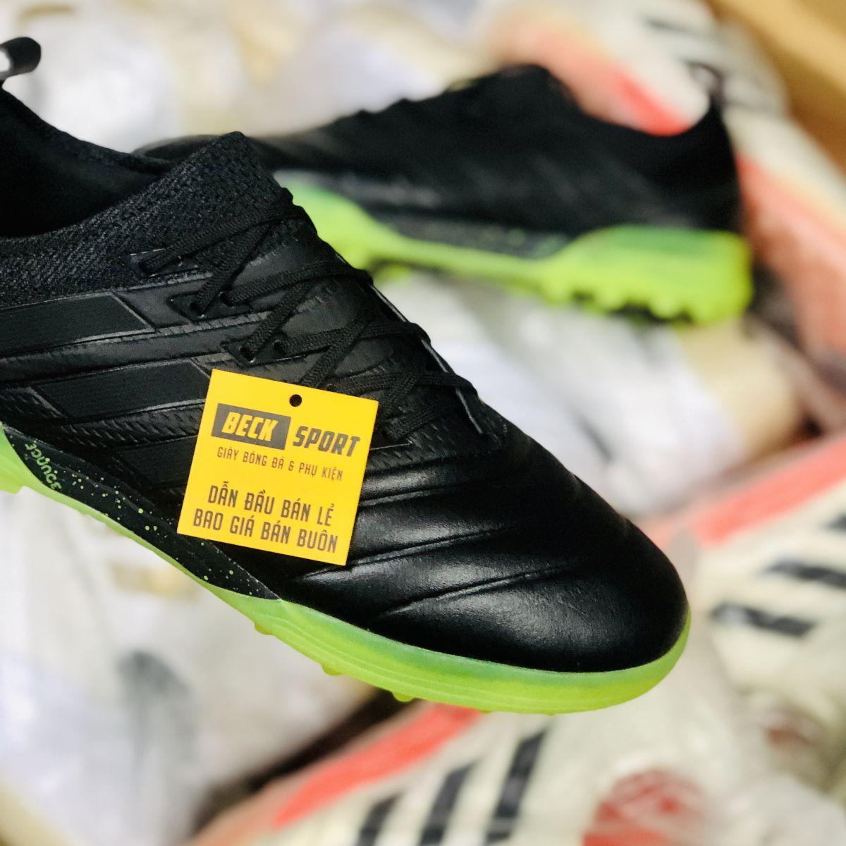 Giày Bóng Đá Adidas Copa 19.1 Đen Tuyền Đế Xanh Lá Da Thật TF