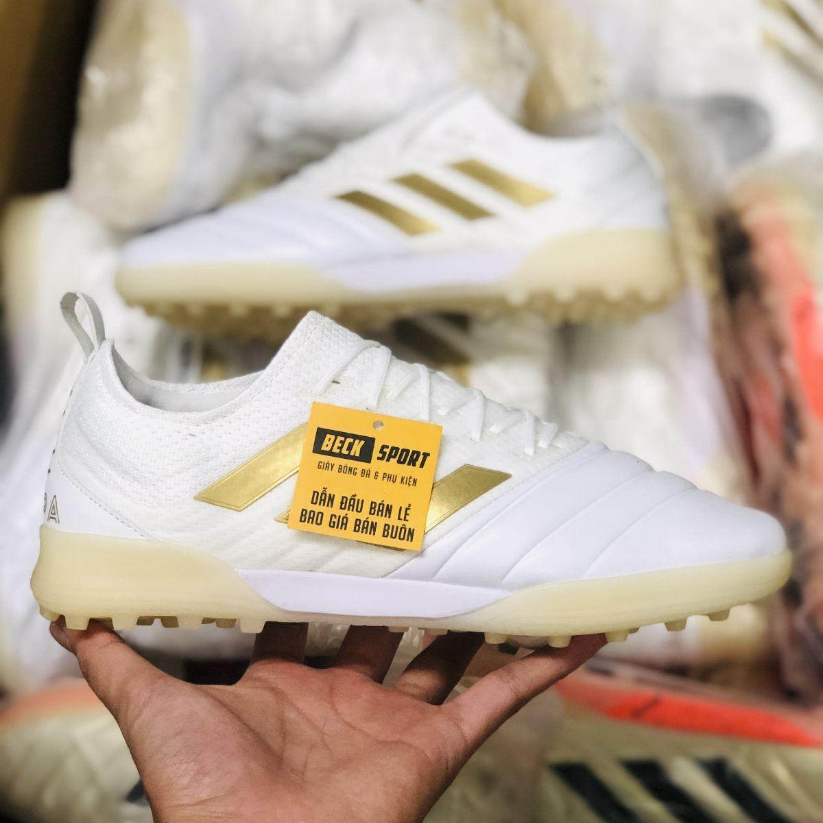 Giày Bóng Đá Adidas Copa 19.1 Trắng Vạch Đồng Da Thật TF