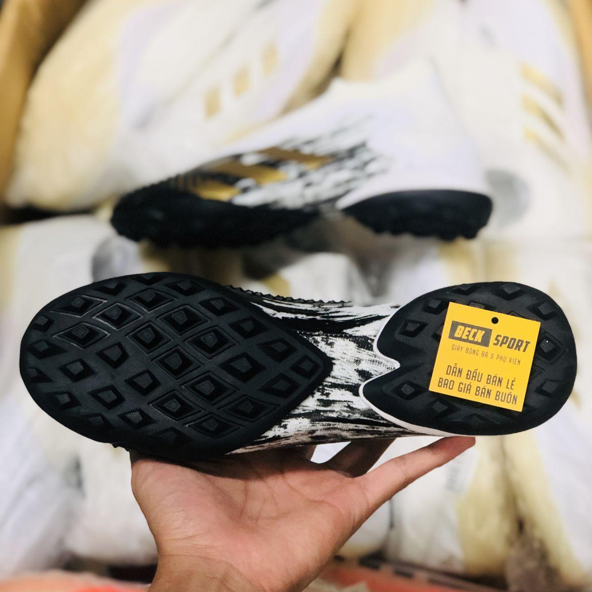 Giày Bóng Đá Adidas Predator 20+ Trắng Đen Vạch Vàng Không Dây Cổ Cao TF