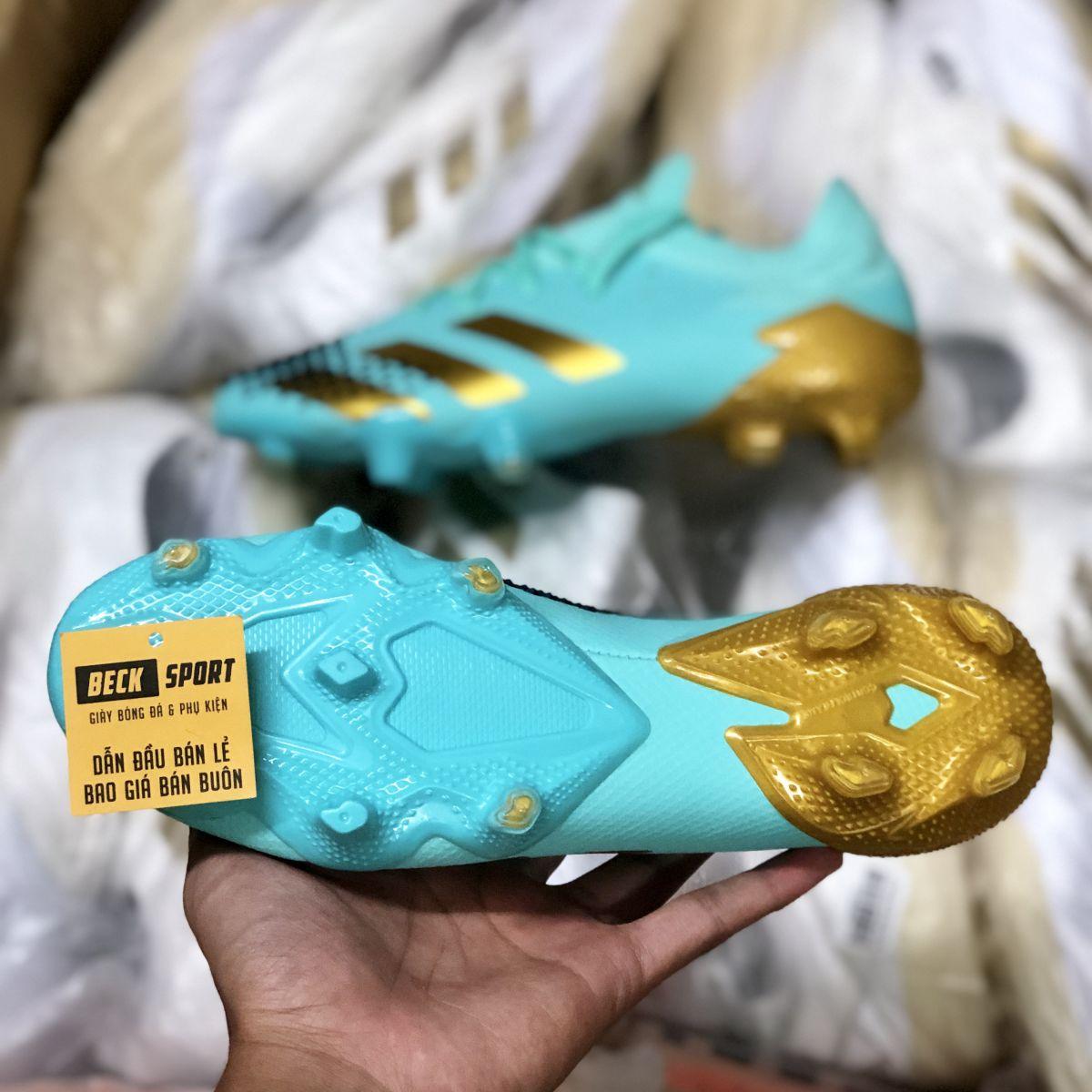 Giày Bóng Đá Adidas Predator 20.1 Xanh Ngọc Vạch Vàng FG