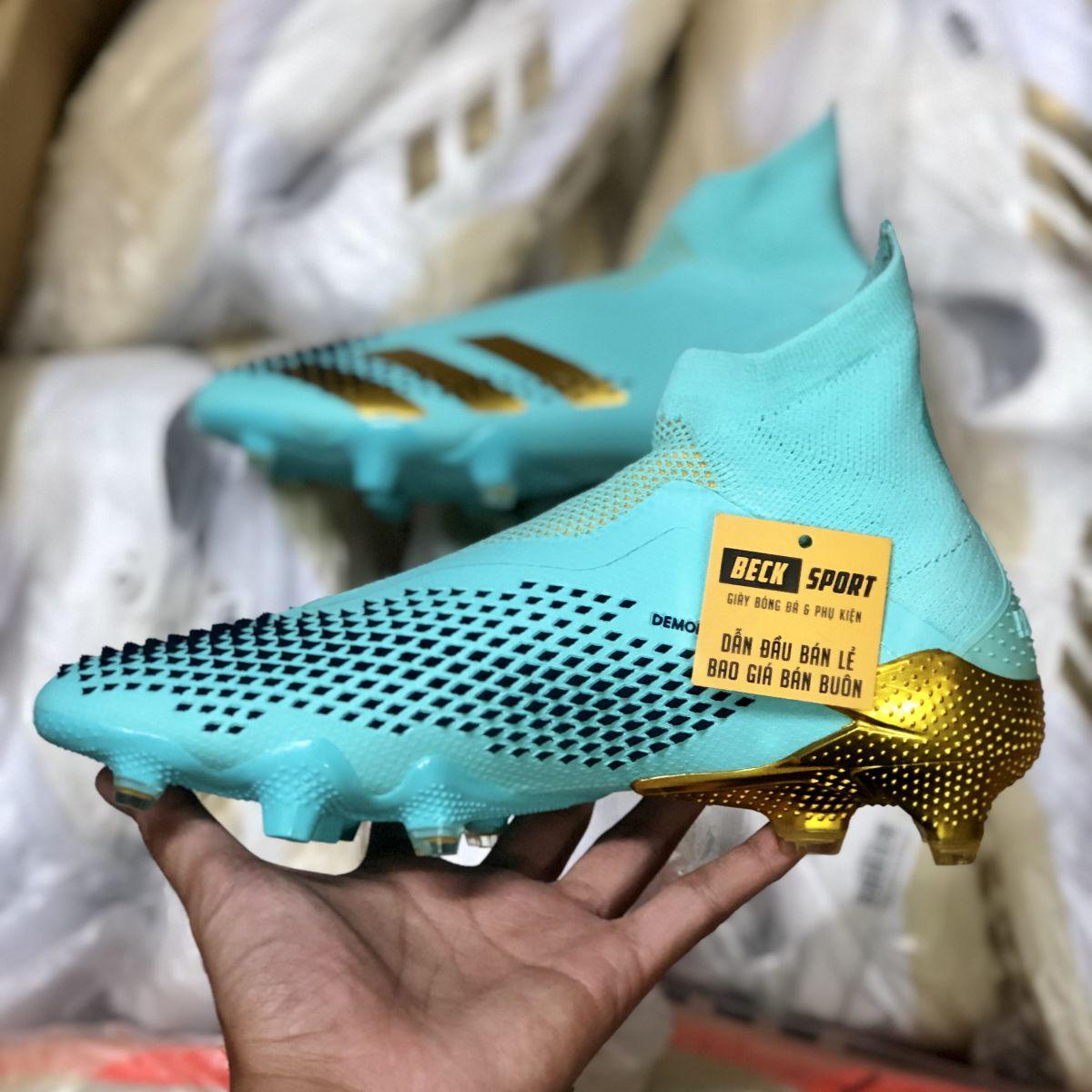 Giày Bóng Đá Adidas Predator 20+ Xanh Ngọc Vạch Vàng Không Dây Cổ Cao FG