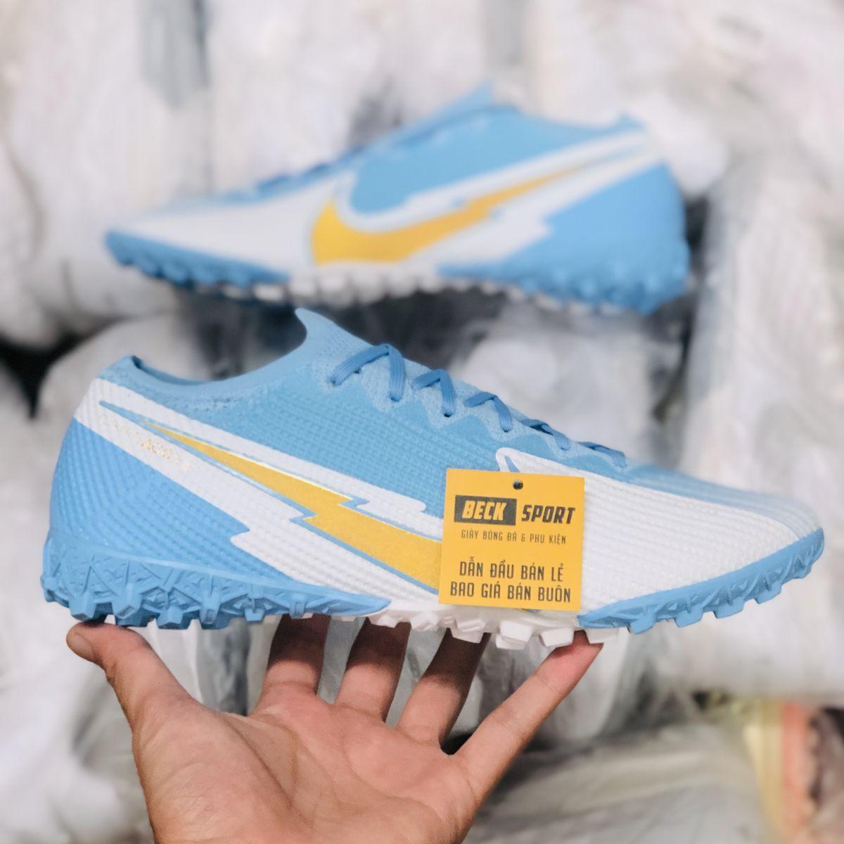 Giày Bóng Đá Nike Mercurial Vapor 13 Elite Xanh Biển Trắng Vạch Vàng Cổ Lửng TF