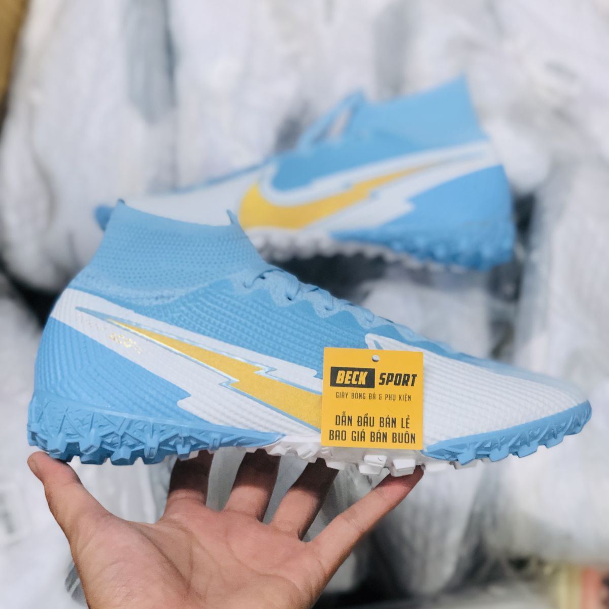 Giày Bóng Đá Nike Mercurial Superfly 7 Elite Xanh Biển Trắng Vạch Vàng Cổ Cao TF