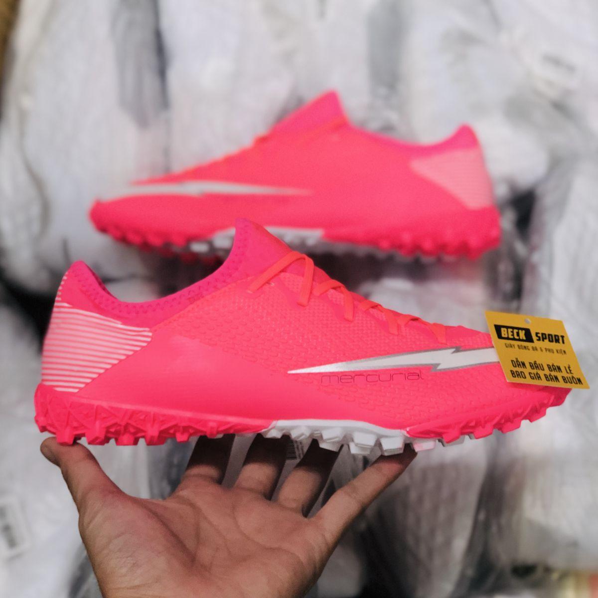 Giày Bóng Đá Nike Mercurial Vapor 13 Pro Mbappe Hồng Vạch Trắng Cổ Lửng V2 TF