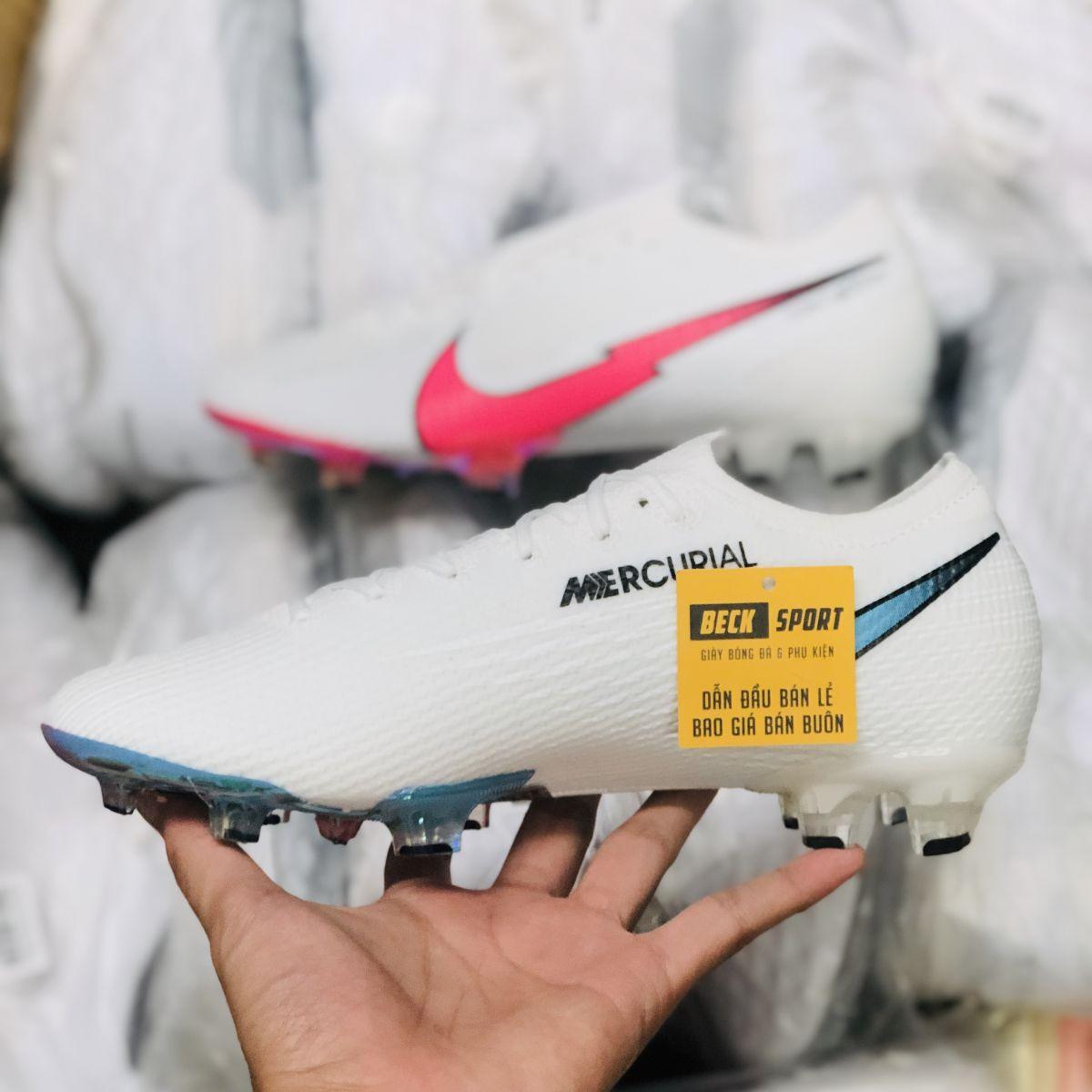 Giày Bóng Đá Nike Mercurial Vapor 13 Elite Olympics Trắng Vạch Hồng Cổ Lửng FG