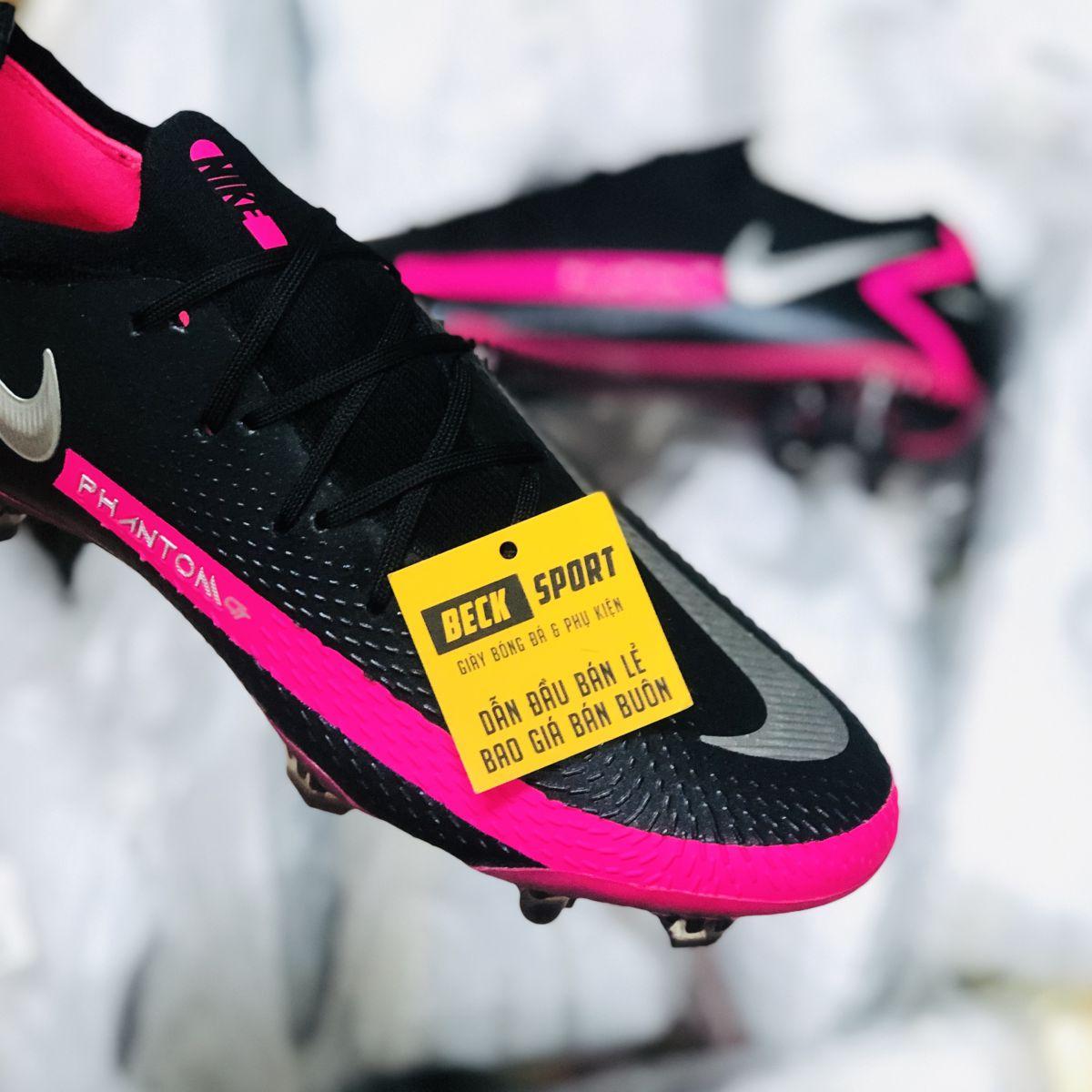 Giày Bóng Đá Nike Phantom GT Elite Đen Hồng Vạch Xám Cổ Lửng FG