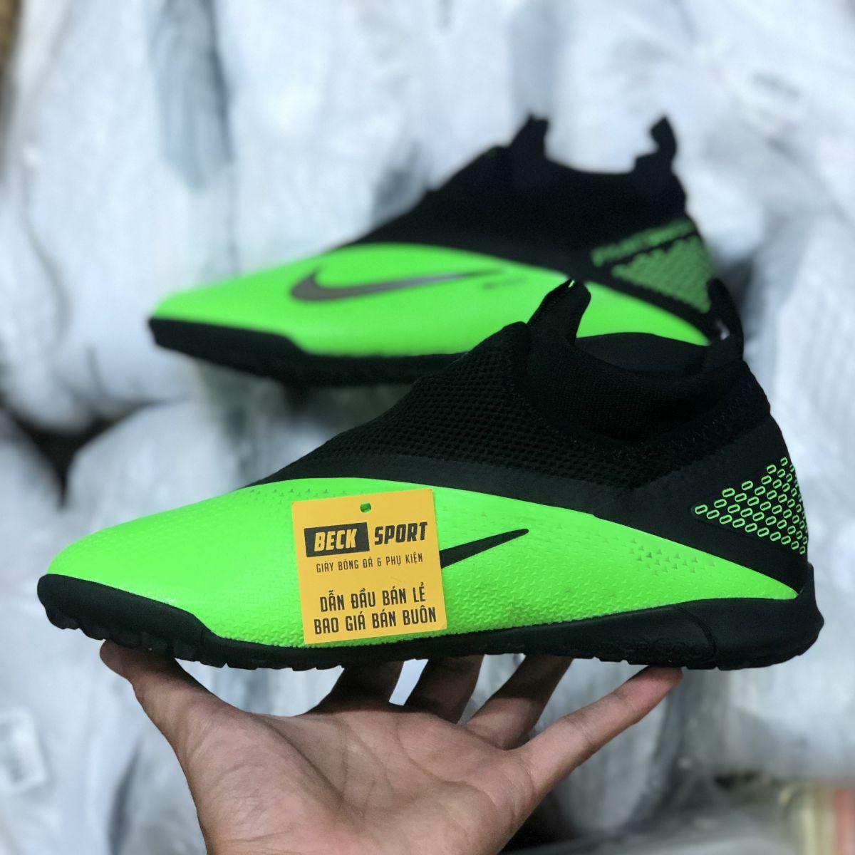 Giày Bóng Đá Nike Phantom VSN II Xanh Lá Gót Đen Cổ Cao Giấu Dây TF