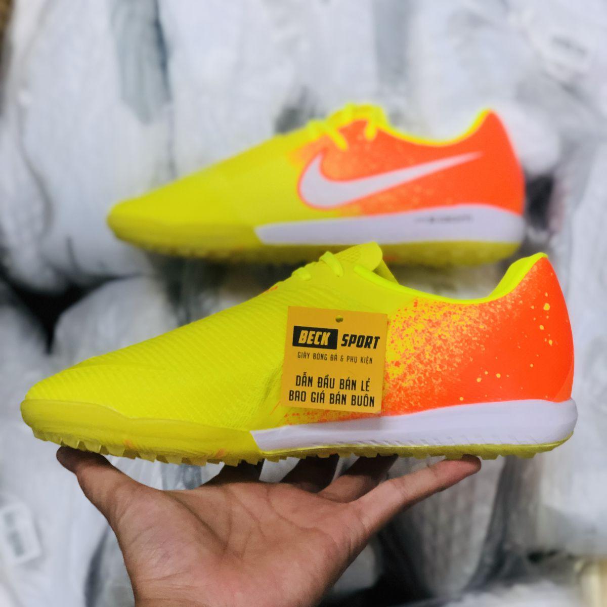 Giày Bóng Đá Nike Zoom Phantom VNM Vàng Gót Cam Vạch Trắng Giấu Dây TF