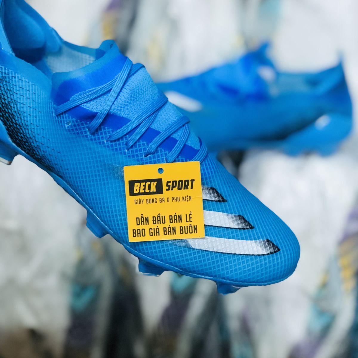 Giày Bóng Đá Adidas X Ghosted.1 Xanh Biển Vạch Trắng FG