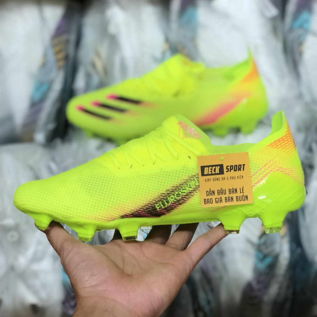 Giày Bóng Đá Adidas X Ghosted.1 Nõn Chuối Hồng Vạch Đen FG