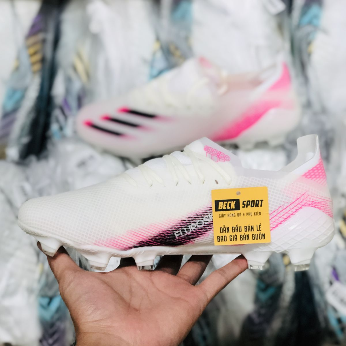 Giày Bóng Đá Adidas X Ghosted.1 Trắng Hồng Vạch Đen FG
