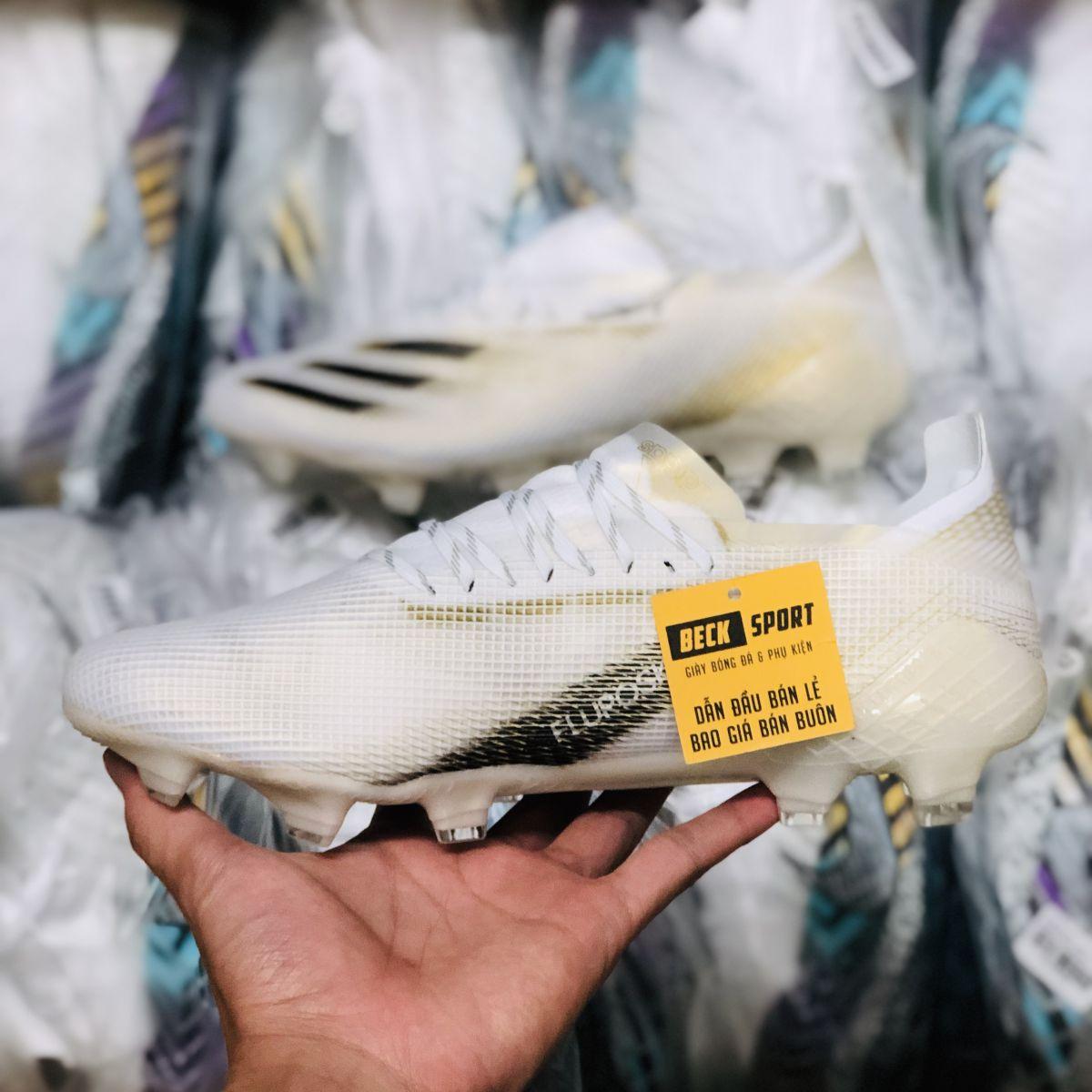 Giày Bóng Đá Adidas X Ghosted.1 Trắng Vàng Vạch Đen FG