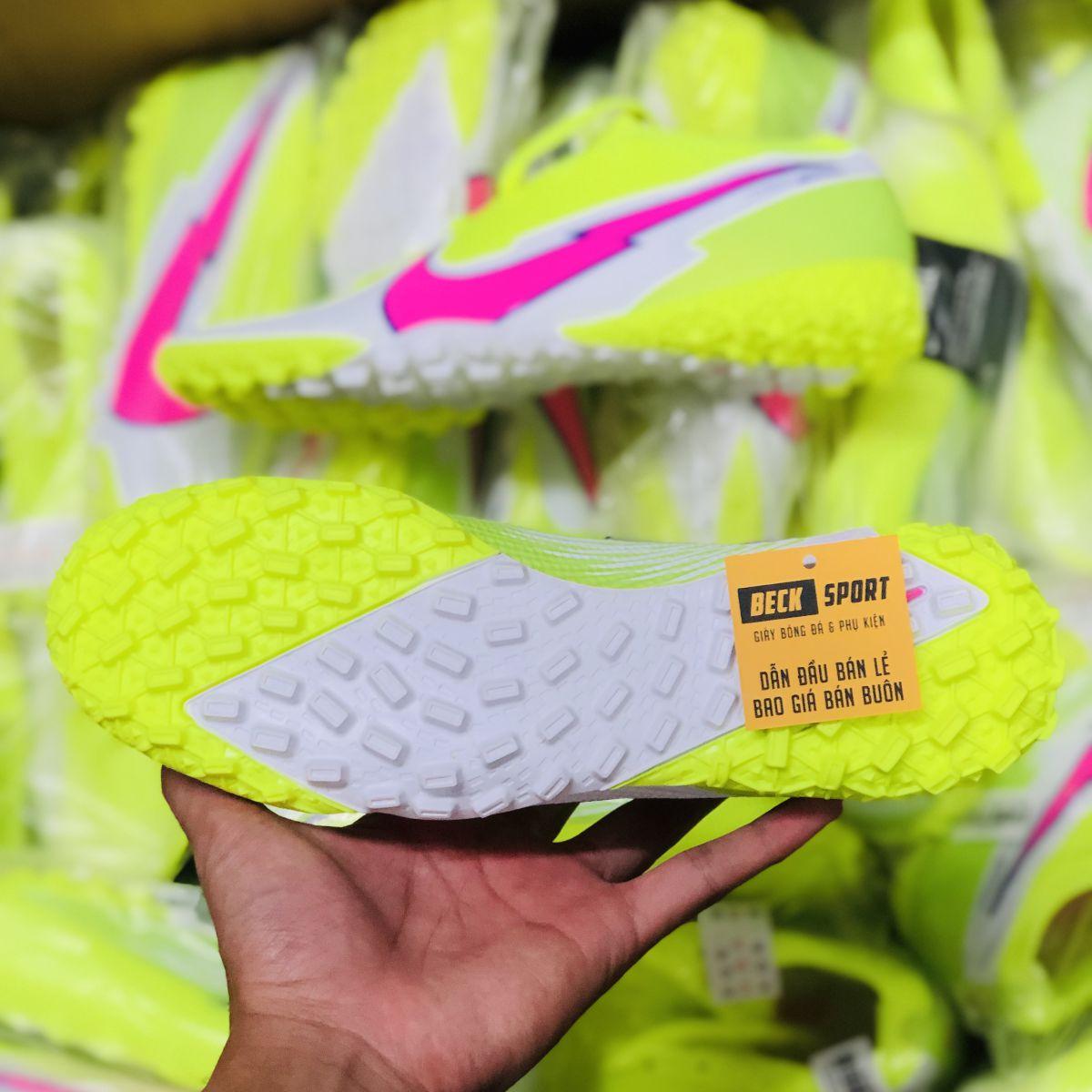 Giày Bóng Đá TQ Nike Mercurial Vapor 13 Elite Nõn Chuối Trắng Vạch Hồng Cổ Lửng TF