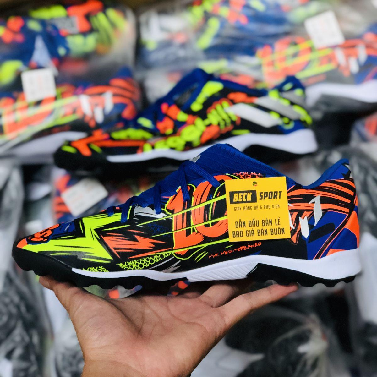 Giày Bóng Đá TQ Adidas Nemeziz 19.3 Messi Xanh Than Cam Chuối Vạch Xám TF