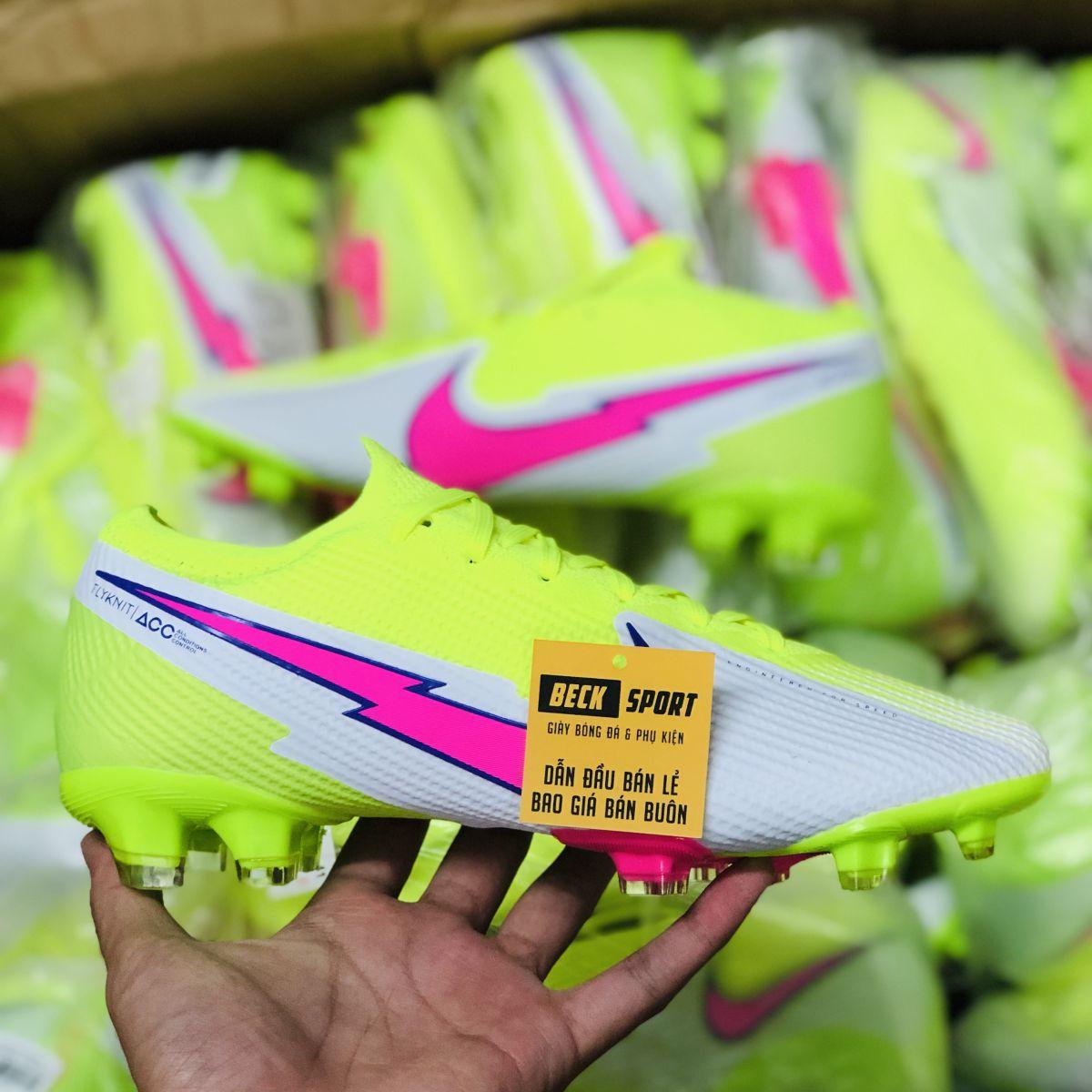 Giày Bóng Đá TQ Nike Mercurial Vapor 13 Elite Nõn Chuối Trắng Vạch Hồng Cổ Lửng FG