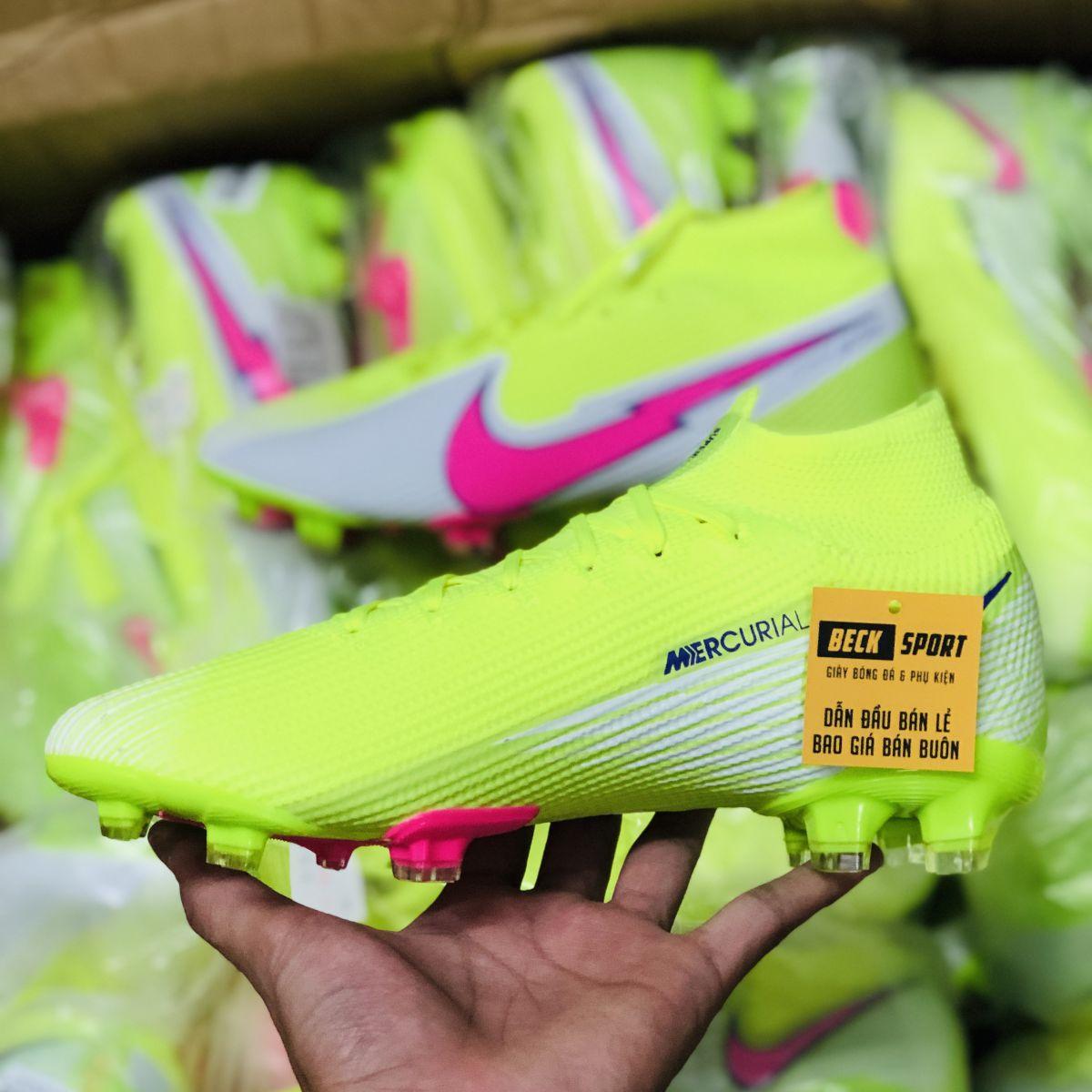 Giày Bóng Đá TQ Nike Mercurial Superfly 13 Elite Nõn Chuối Trắng Vạch Hồng Cổ Cao FG