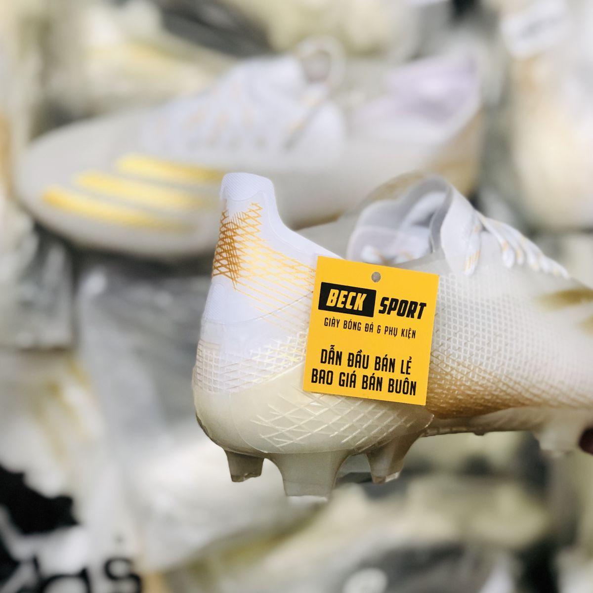 Giày Bóng Đá Adidas X Ghosted.1 Trắng Vạch Vàng FG