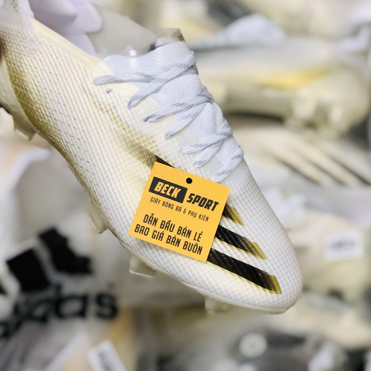 Giày Bóng Đá Adidas X Ghosted.1 Trắng Vàng Vạch Đen V2 FG