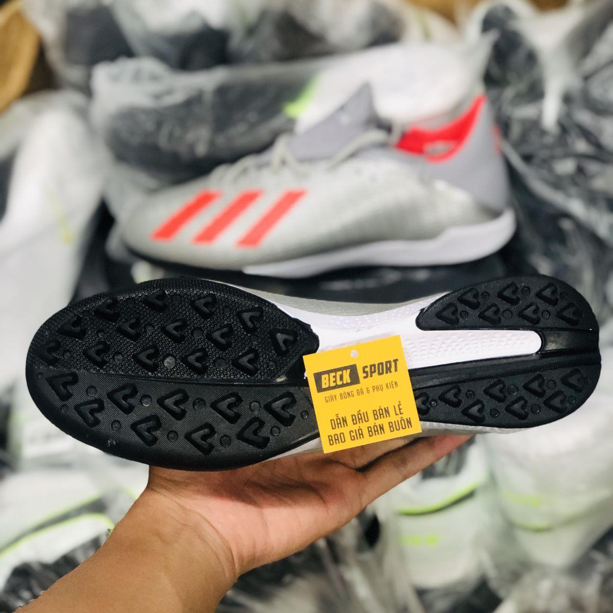 Giày Bóng Đá Adidas X 19.3 Xám Vạch Đỏ Đế Đen TF
