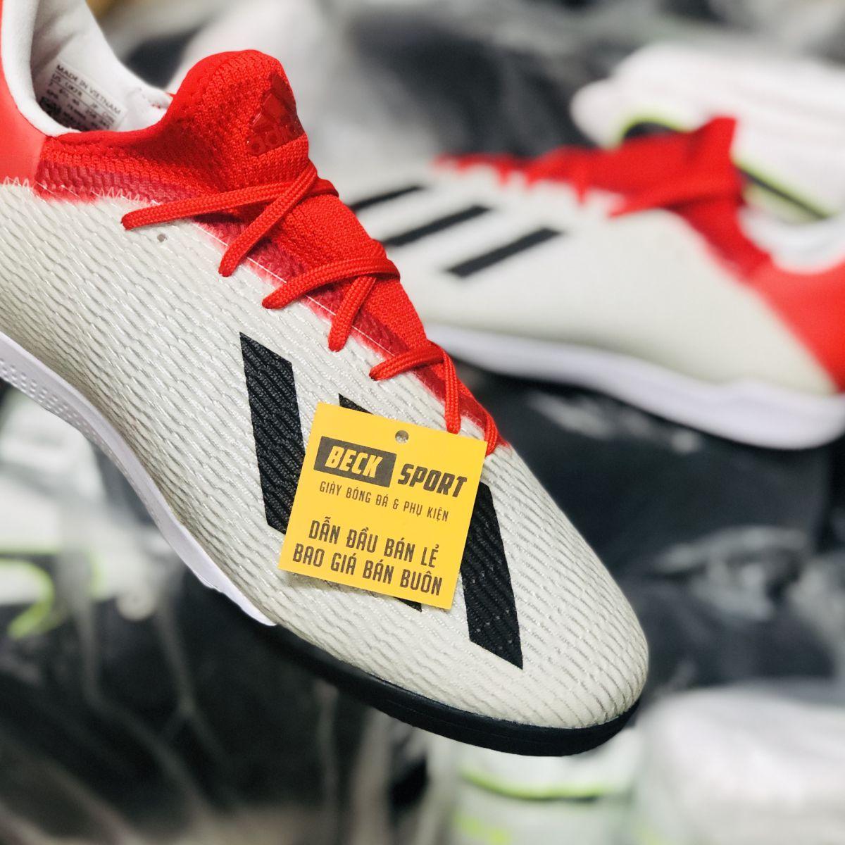 Giày Bóng Đá Adidas X 19.3 Xám Vạch Đen Gót Đỏ TF