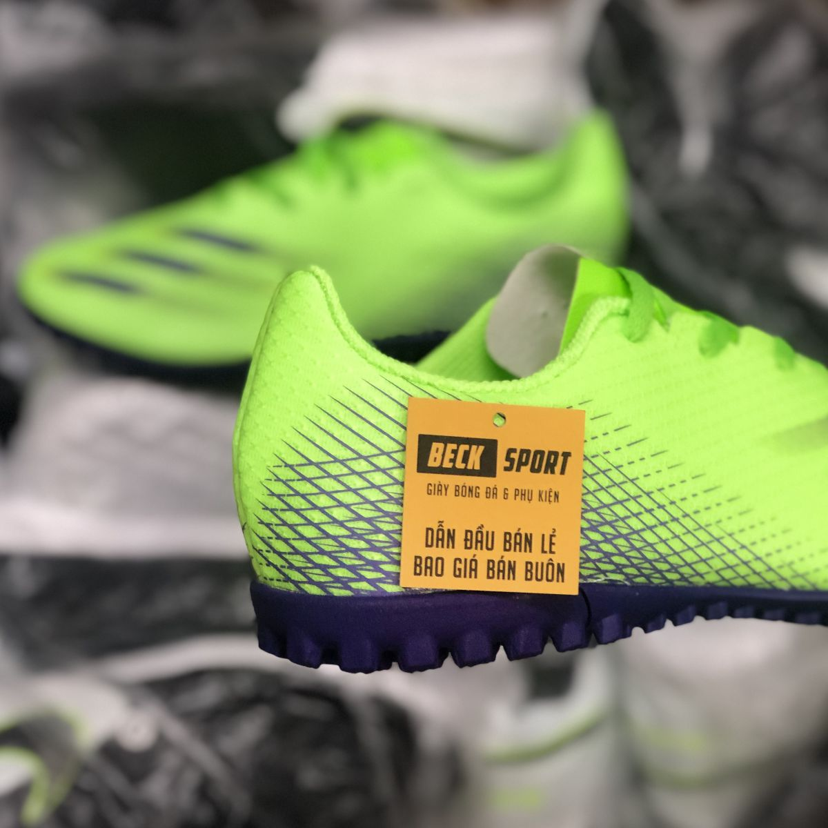 Giày Bóng Đá Adidas X Ghosted.4 Xanh Lá Vạch Tím HQ TF