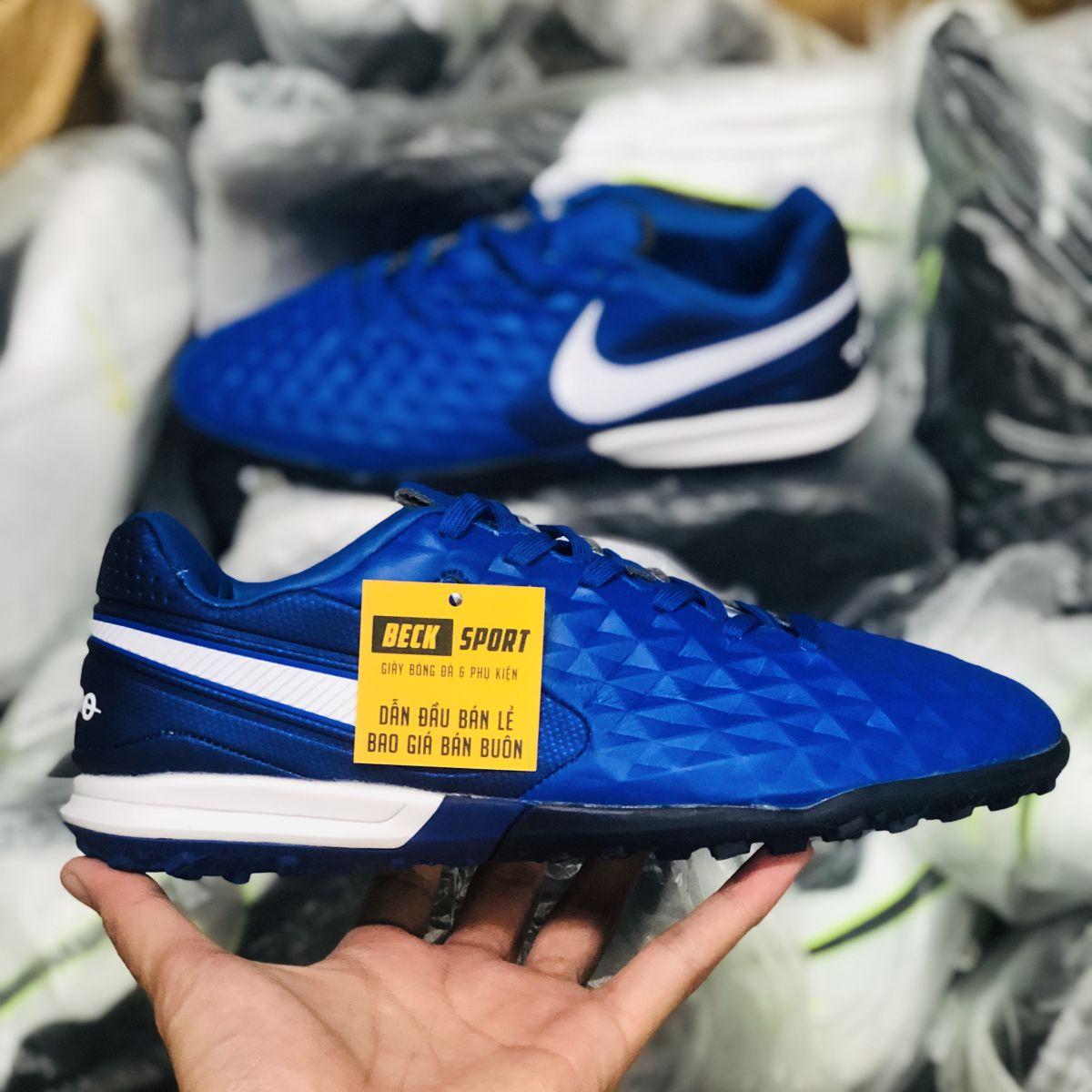 Giày Bóng Đá Nike Tiempo Legend 8 Pro Xanh Tím Than Vạch Trắng HQ TF