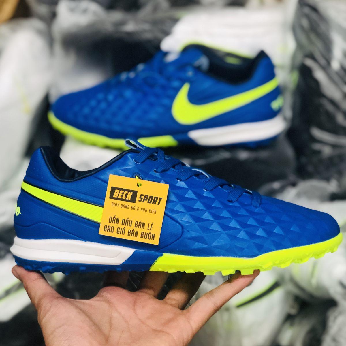 Giày Bóng Đá Nike Tiempo Legend 8 Pro Xanh Biển Vạch Nõn Chuối HQ TF