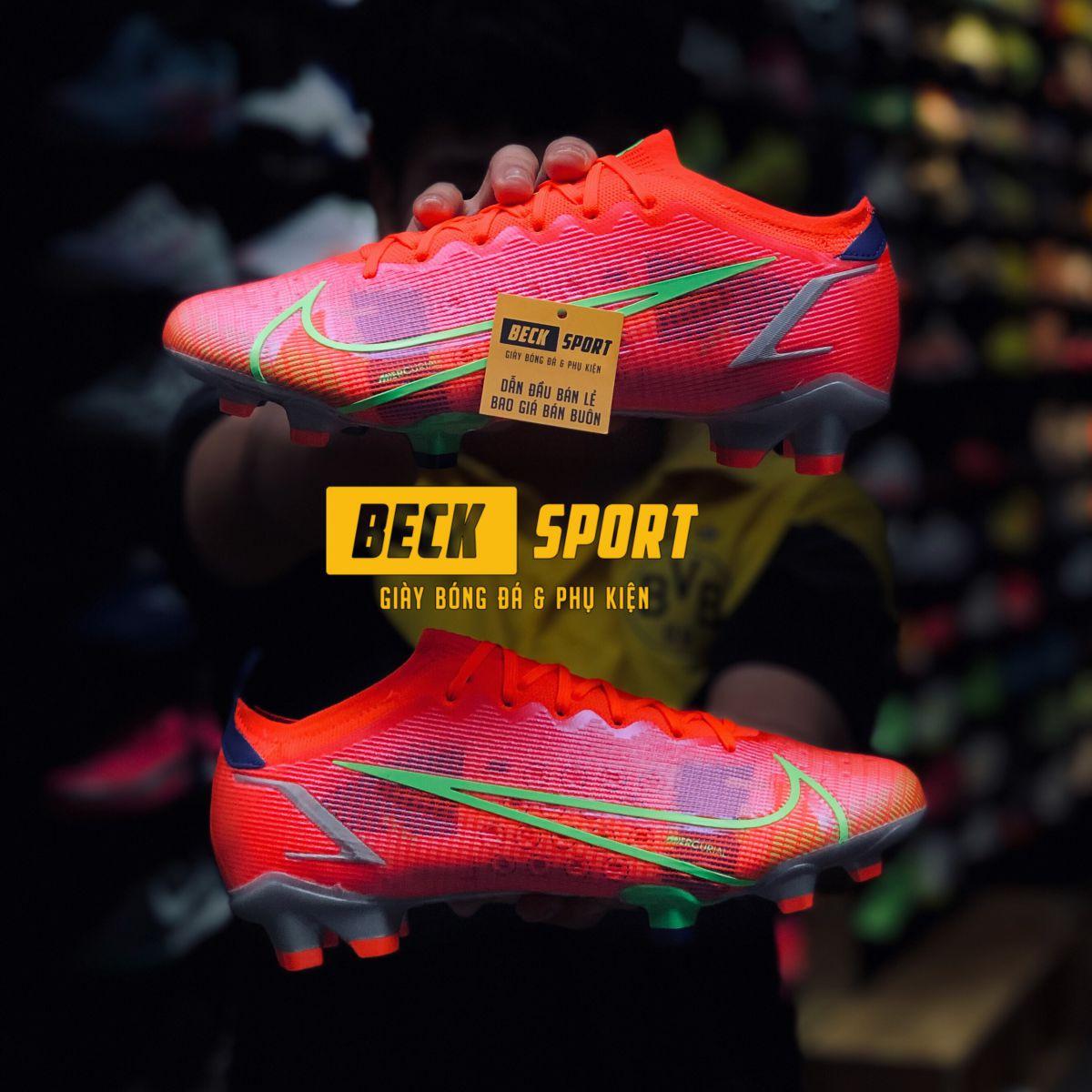 Giày Bóng Đá Nike Mercurial Vapor 14 Elite Đỏ Vạch Xanh Lá Cổ Lửng HQ FG