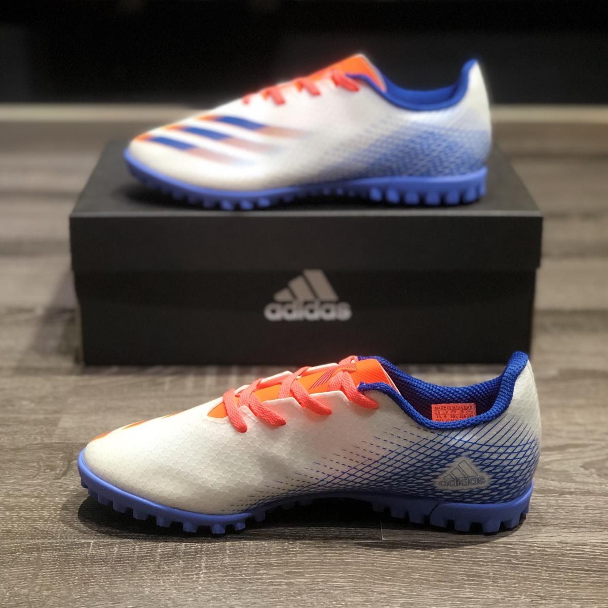 Giày Bóng Đá Adidas X Ghosted.4 Trắng Vạch Xanh Biển Cam HQ TF