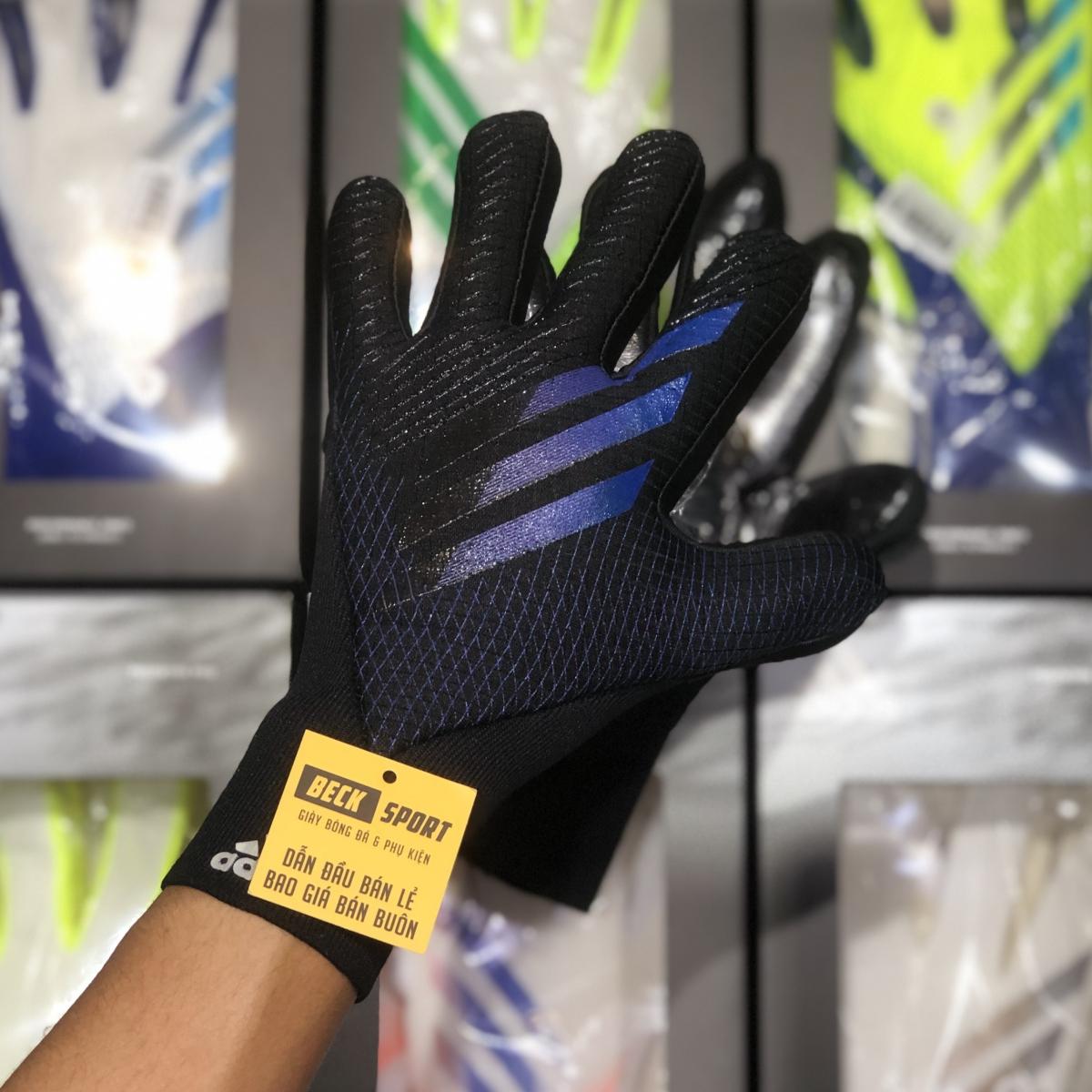 Găng Tay Adidas X Pro Đen Vạch Xanh Than (Không Xương)