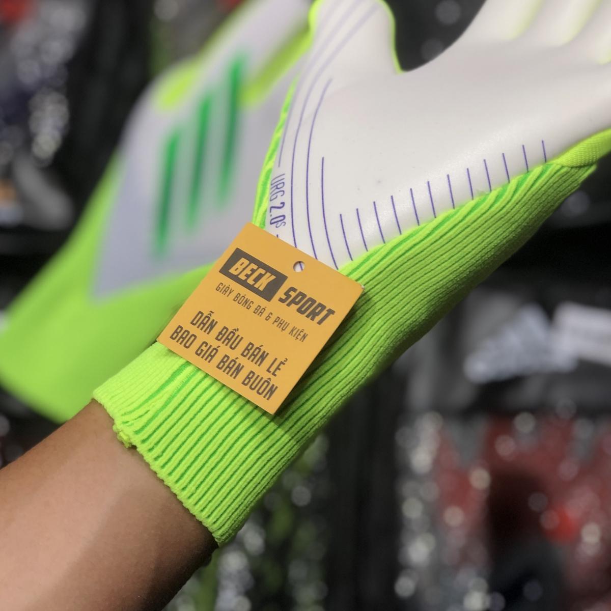Găng Tay Adidas X Pro Trắng Vạch Xanh Lá HQ (Không Xương)