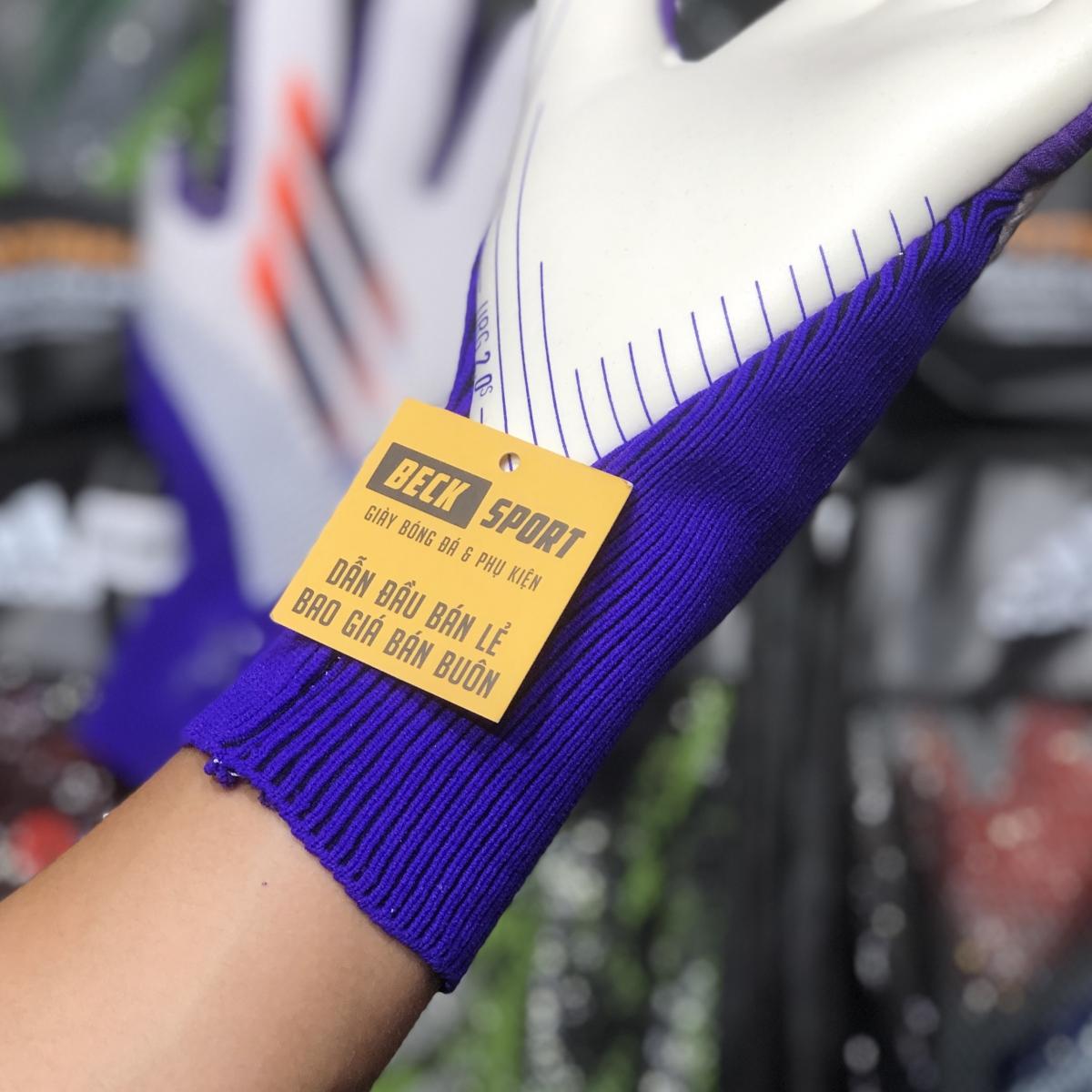 Găng Tay Adidas X Pro Trắng Tím Vạch Đen HQ (Không Xương)