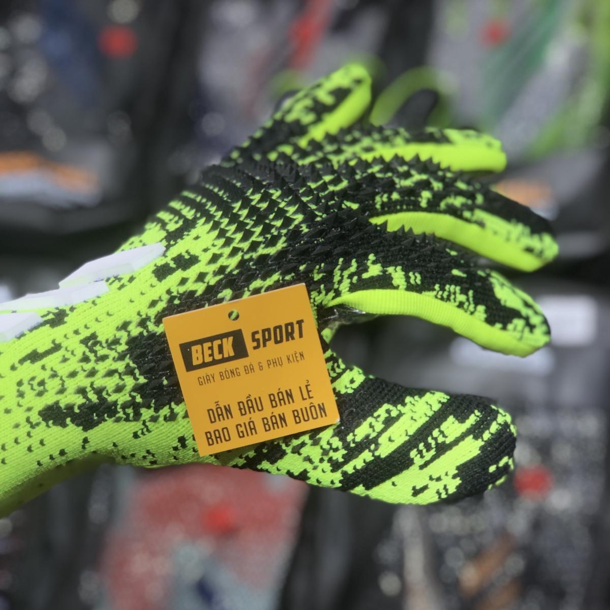 Găng Tay Adidas Predator 20 Pro PC Xanh Lá Đen Vạch Trắng HQ (Không Xương )