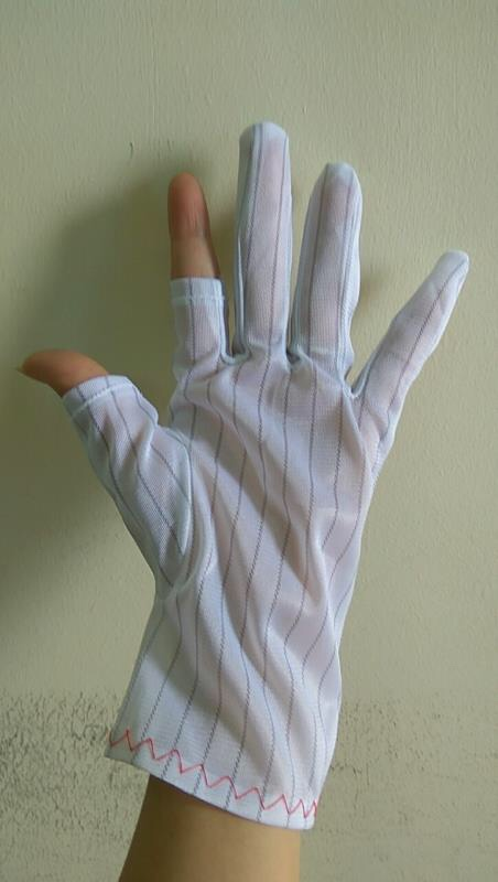 Găng tay kẻ sọc cắt ngón ESD