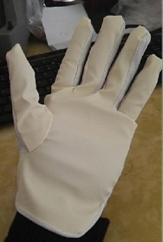Găng tay kẻ sọc ESD phủ bàn PU và chấm hạt