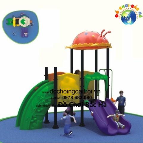 Cầu trượt liên hoàn 2 khối mái thú A1122