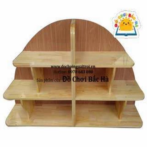 Kệ đồ chơi hình rẻ quạt gỗ thông