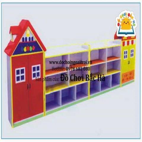 Giá đựng đồ chơi ngôi nhà 4 khối
