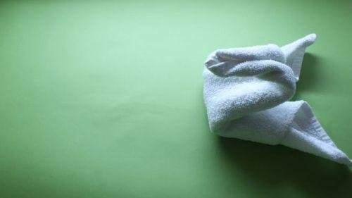 Bước 4 gấp thiên nga bằng khăn phòng tắm