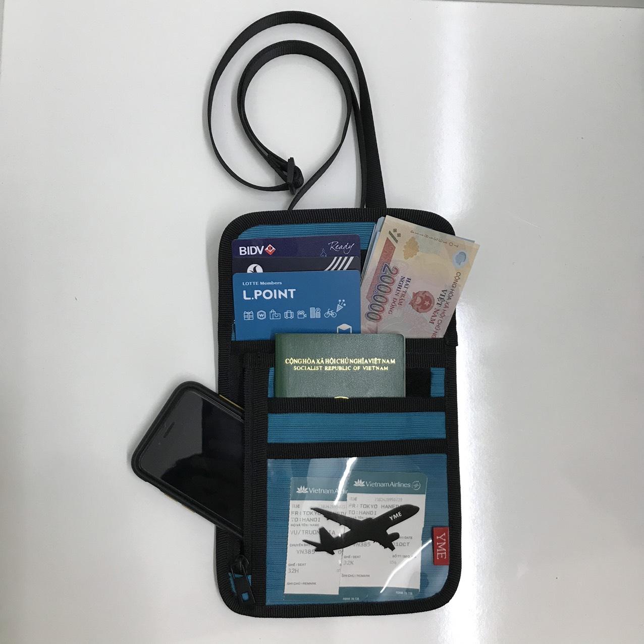 Túi đựng hộ chiếu passport đựng giấy tờ cá nhân đeo cổ YME_YHC03 màu Đen